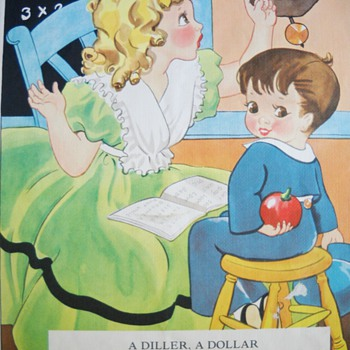 1937 NURSERY RHYME LINEN BOOK - LAST PICTURES