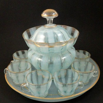 Bohemian Blue-Opalescent Art Glass Punch Bowl Set