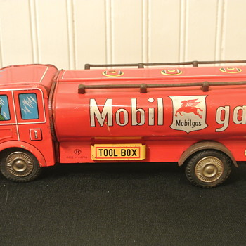 Vintage Tin Mobile Gasoline Tanker Truck with Friction Drive - Toys