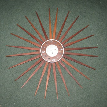 MCM Starburst Wall Clock with wood rays - Mid-Century Modern
