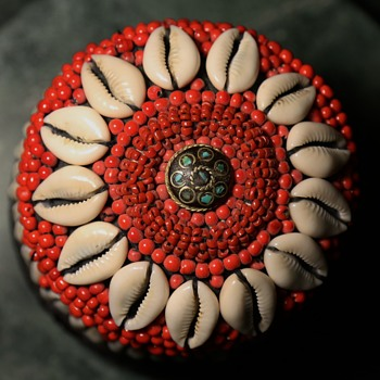 Decorative Basket with Cowrie Shells, Old Glass Trade Beads, and Indian Button