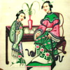 Original Handpainted Japanese Mother and Child