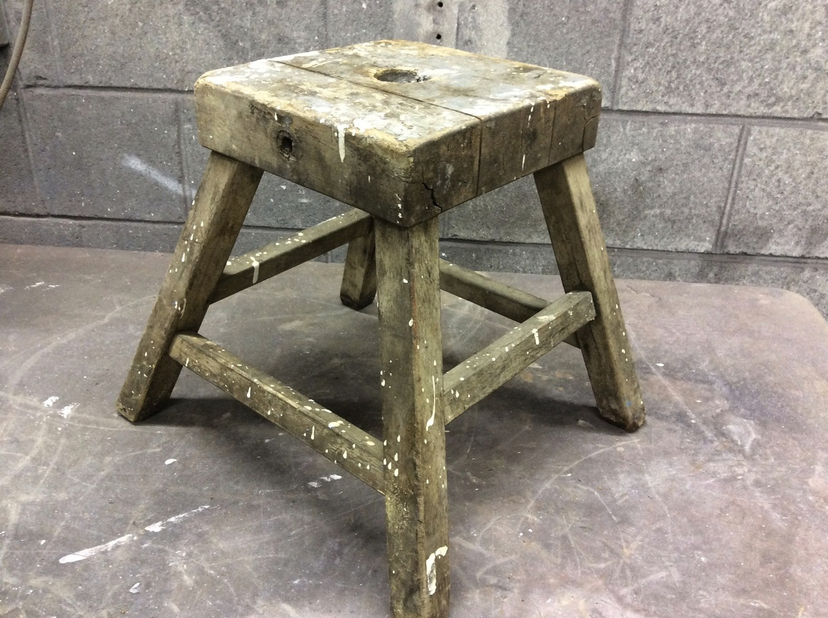 Old Wooden Stool ~ Old wooden stool possible clamp or tool collectors weekly