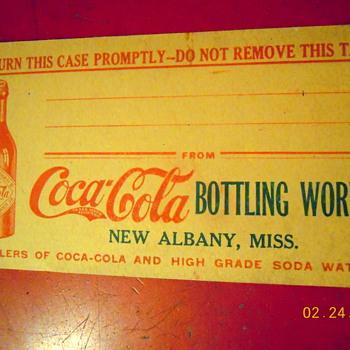 c. 1910 Bottle Shipping Case Address Tag - Coca-Cola