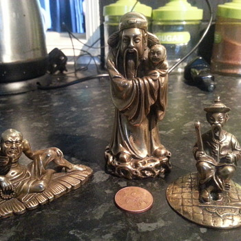 three bronze figurines - Asian