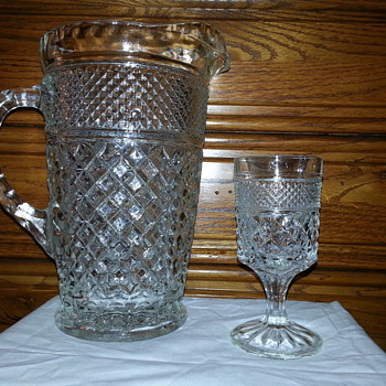 Very Beautiful Anchor Hocking Wexford Pitcher and Wine Goblet - Glassware