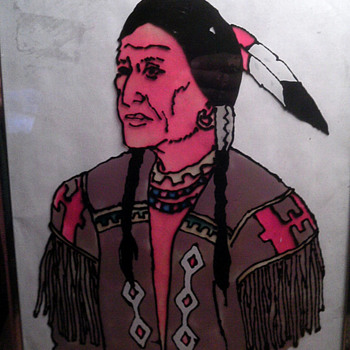 Indian Man painted on glass - Native American