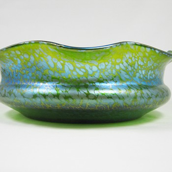 Loetz Crete Papillon Art deco era Glass Bowl ca. 1920's
