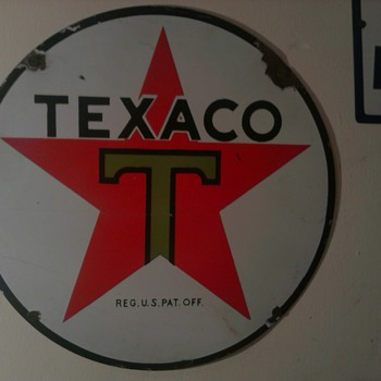 "15"" Texaco Lube Cart Sign - Signs"
