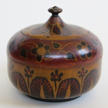 Beautiful Antique Treenware(?) Vessel, Hand Decorated, Signed & Dated 1922 - Folk Art