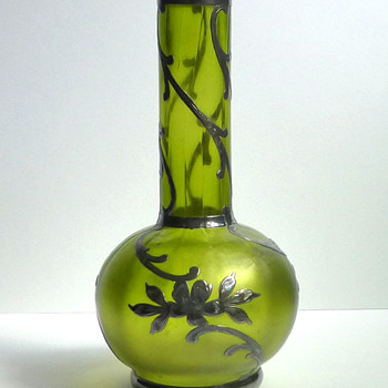 Tiny Bohemian Glass Vase with Silver Overlay - Loetz Creta Glatt? - Art Glass