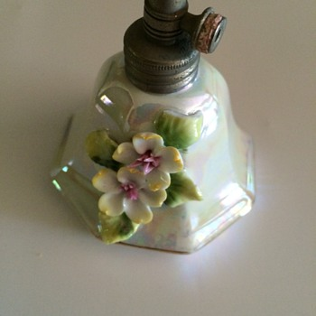 Lusterware with Applied Flowers Perfume Bottle - Bottles