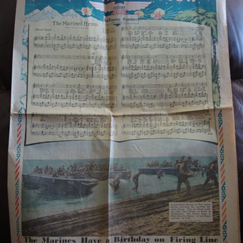 """THE MARINES' HYMN"" SAN FRANCISCO CHRONICLE  11/8/42 ARRANGE BY A. TREGINA,U.S. MARINE BAND - Paper"