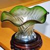 Art Nouveau Rindskopf Ripple Pepita Variant Green Iridescent Vase