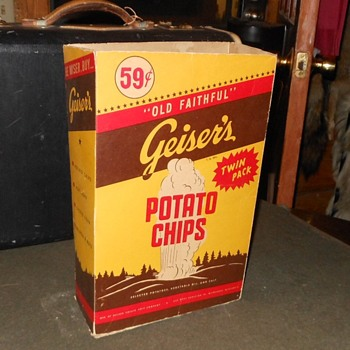 Vintage Geiser's Old Faithful Potato Chips Box - Advertising