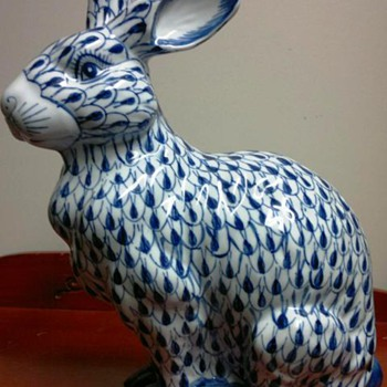 Large heavy Chinese Ceramic  Rabbit - Asian