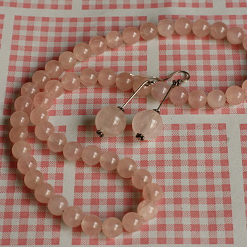 Simple rose quartz demi parure - Fine Jewelry
