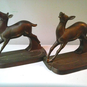 """FrankArt"" Inc. Brass ""Art Deco"" Deer Bookends / Circa 1924-1935"