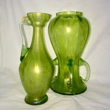 Loetz Diana Ciselé Ewer Pitcher & 4 Handle Iridescent Oil Spot Pair  Vases