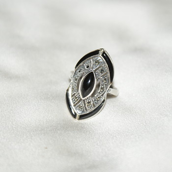 Large Vintage Sterling Ring with Marcasite and Onyx - Fine Jewelry