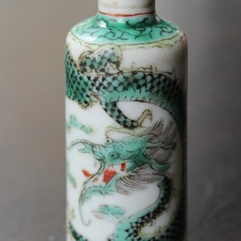 Green Dragon K'ang Hsi Reign Mark Snuff Bottle