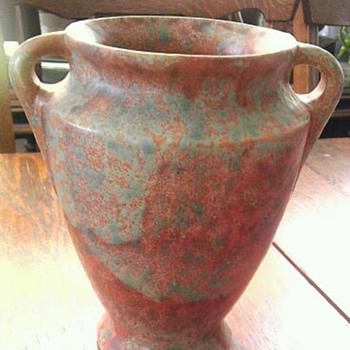 Green mottled rust Burley Winter vase - Art Pottery