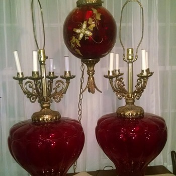 Beautiful red trio of lamps.  - Lamps