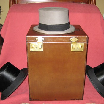 1930's Leather Covered Triple Top Hat Carrier and 1930's Knox New York Silk Top Hats