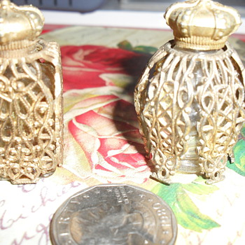 miniature filagree perfume bottles....origin unknown