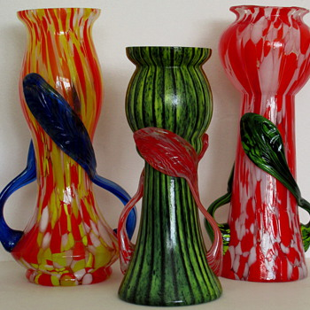 Three Cheerful Czechoslovakia Glass Vases - Art Glass