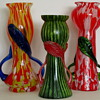 Three Cheerful Czechoslovakia Glass Vases