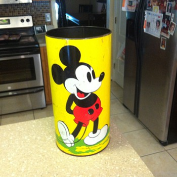 1950's Mickey Mouse, Minnie Mouse and Goofy trash can.