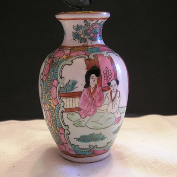 Asian Vase  with Metal Painted Flowers