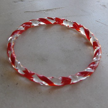 red/clear twist glass bangle for Racer - Good Morning from the LBC!