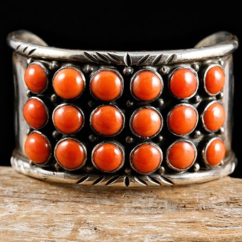 Old Pawn Natural Coral Row Cuff - Fine Jewelry