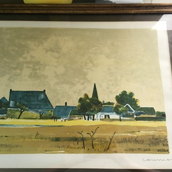 Mid Century Village Lithograph