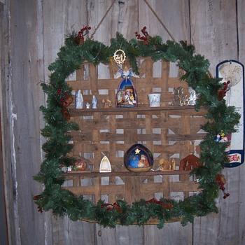 TOBACCO BASKET NATIVITY SHELF - Christmas