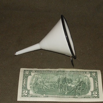 Small Enamelware Funnel White With Black Trim