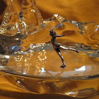 Baccarat Ice Skater on Pond Sculpture - Art Glass