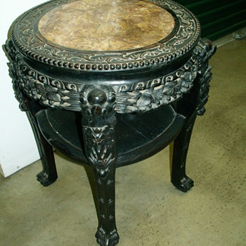 ASIAN CARVED TABLE WITH MARBLE TOP - Furniture