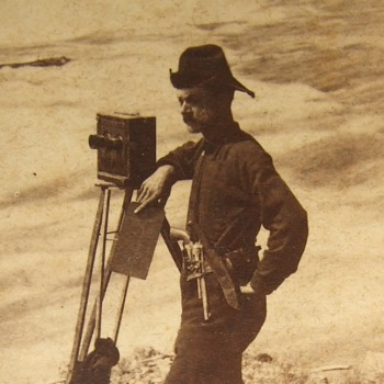 Stereoview of FJ Haynes with his Camera - Photographs