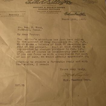 A letter written in 192o