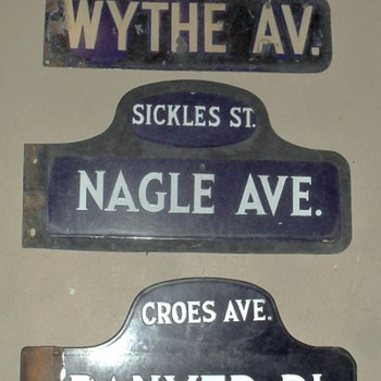 Old porcelain street signs from New York City