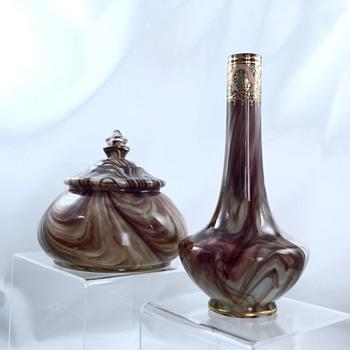 Loetz Onyx Dresser Box & Onyx Enamelled Vase