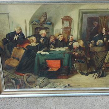 Antique Print on Masonite Board Please Help ID - Visual Art