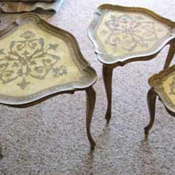 Antique (French? Italian?) Inlaid Nesting Tables