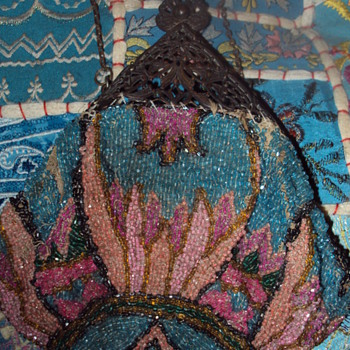 Old glass beaded purse