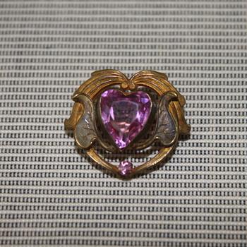 Pink Heart Art Nouveau Brooch - Costume Jewelry