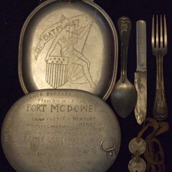 "WW1 Trench Art ""Diary"" Mess Kit and Dog Tags"
