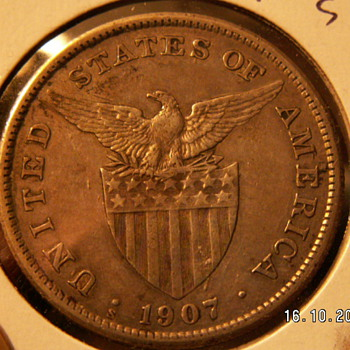1907 Philippine Islands 1 Peso  -Minted in U.S.A. - World Coins